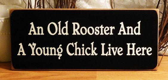 An Old Rooster And A Young Chick Live Here by 2ChicksAndABasket, $12.45