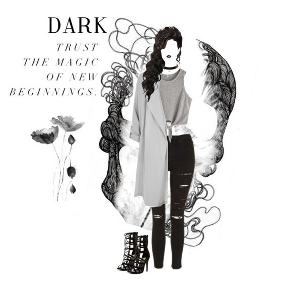 """""""Dark"""" by mickie-pcosta ❤ liked on Polyvore featuring Topshop and River Island"""
