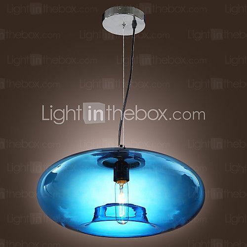 Pendant Light Modern Design Blue Glass Bulb Included - USD $99.99