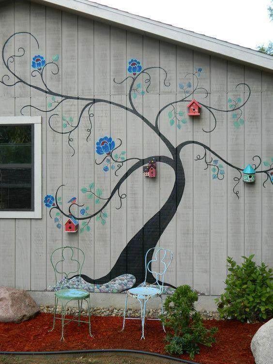 20 Creative Outdoor Wall Decor Ideas Garden Mural Mosaic