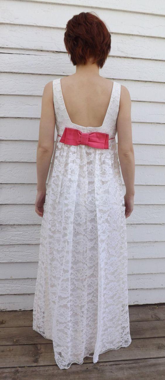 Vintage 60er Jahre Lace Kleid Party Kleid Empire Rosa von soulrust