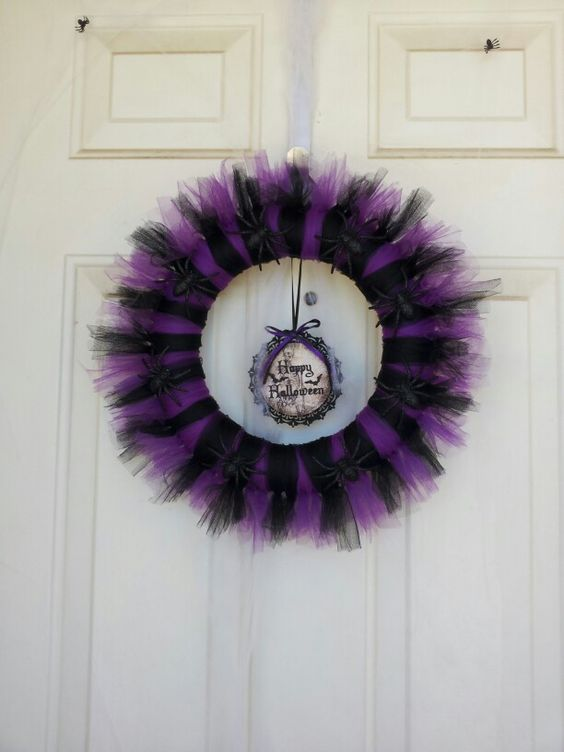 DIY Halloween Wreath  Made with tulle