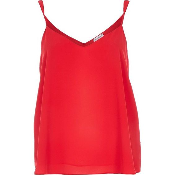 River Island Red V-neck cami top ($32) ❤ liked on Polyvore featuring tops, cami / sleeveless tops, red, women, red tank, v neck tank top, red top, sleeveless tops and v neck tank