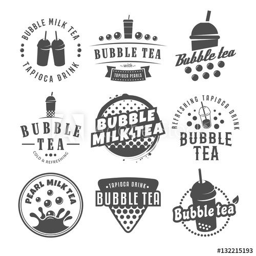 vector bubble tea logos set of pearl tea labels popular asian drink badges acquista questo vettoriale stock ed esplora vettoriali bubble tea bubble grafici vector bubble tea logos set of pearl