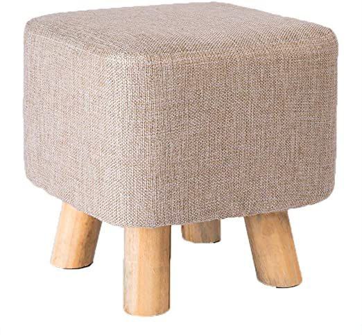 Square Linen Fabric Footstool Foot Rest Stool Pouffe Ottoman Seating Living Room