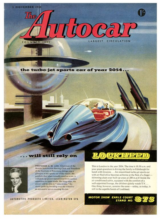 The turbojet sports car of the year 2054.  Spaceship, pulp retro futurism back to the future tomorrow tomorrowland space planet age sci-fi airship steampunk dieselpunk
