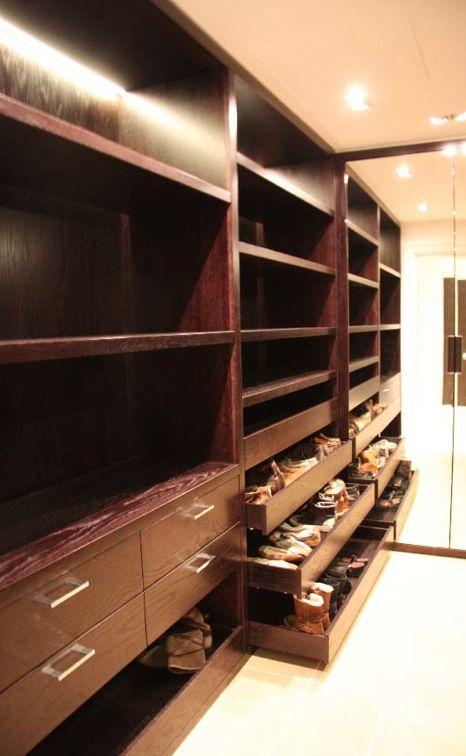 Bespoke walk-in wardrobe. Open shelving and shoe drawers. Dark stained oak veneered board. #BespokeFurniture www.timamery.com