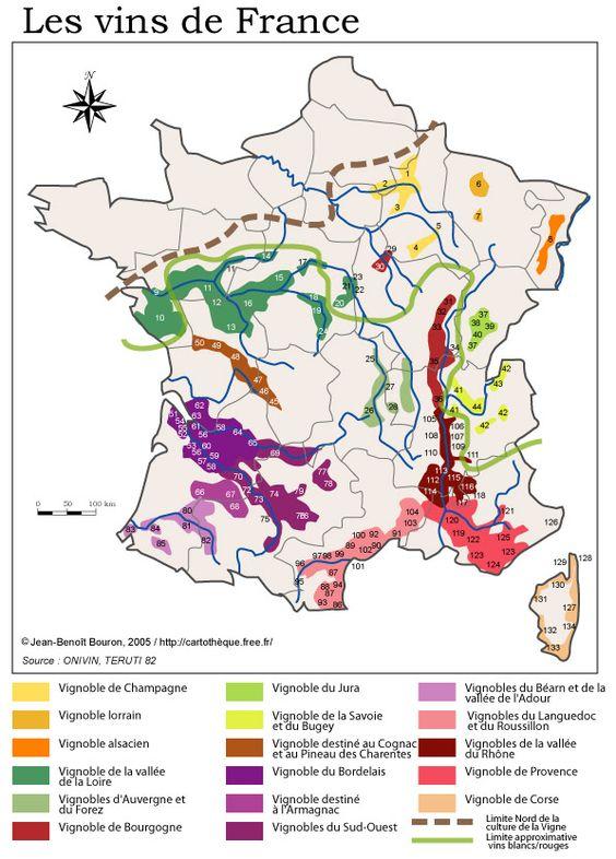 Carte des appellations en France