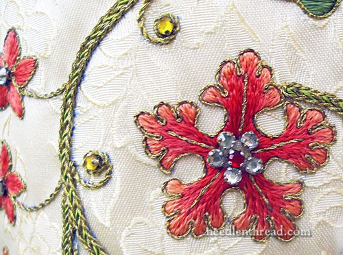 Embroidery flower and vine in silk goldwork threads