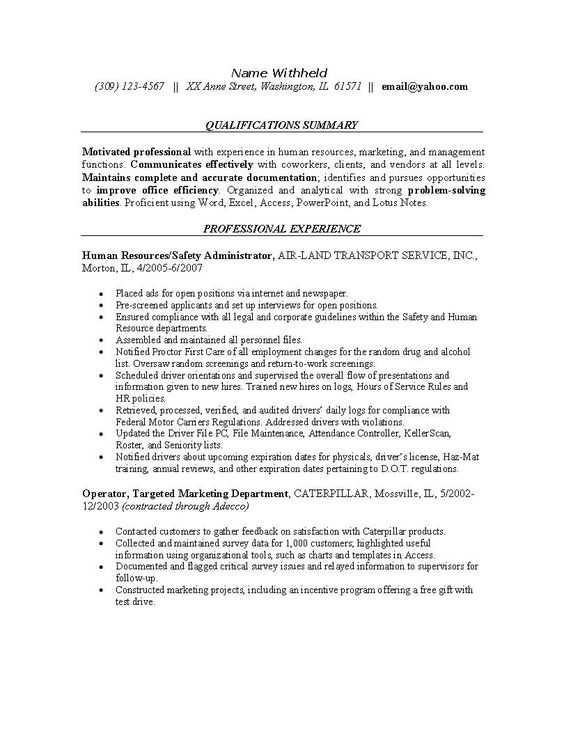 Resume Examples For Safety Professionals | Human Resources Resume