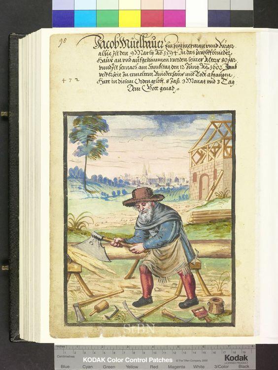 Woodworking tools.  Page from Die Mendelschen und Landauerschen Hausbücher.