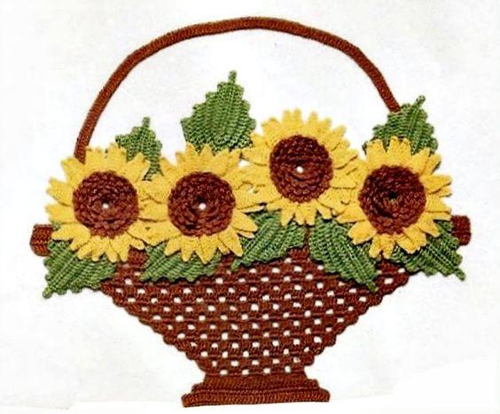 flores em croche passo-a-passo nas cestas com croche com Receitas: