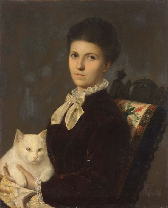 Anonymous artist (19th century) - Portrait of a lady with a white cat