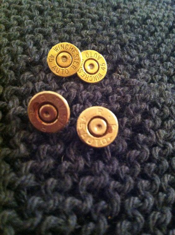 Bullet casing .45 stud earrings.  on Etsy, $22.00