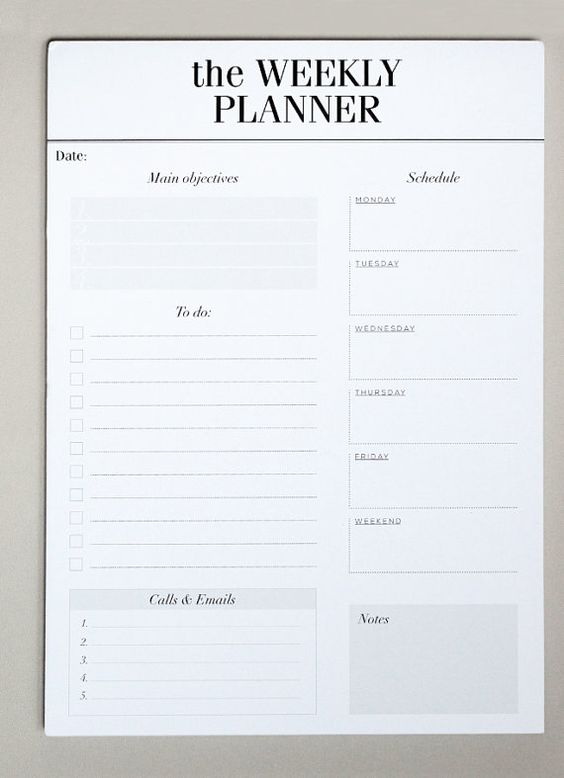 Daily Planner Notepad   Desk Pad Day Planner by CrossbowPrintables - daily note template
