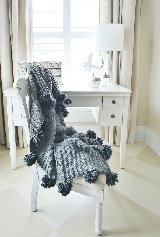 No Sew Pom Pom Throw