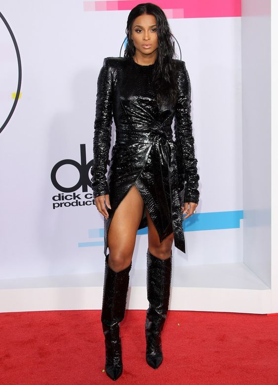 Ciara wearing a textured Alexandre Vauthier dress at the 2017 American Music Awards held at the Microsoft Theater in Los Angeles on November 19, 2017