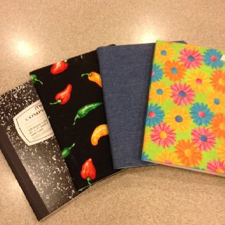 "Fabric covered composition books for unique journals-each child can bring a 14"" x 20"" piece of fabric of their choice."