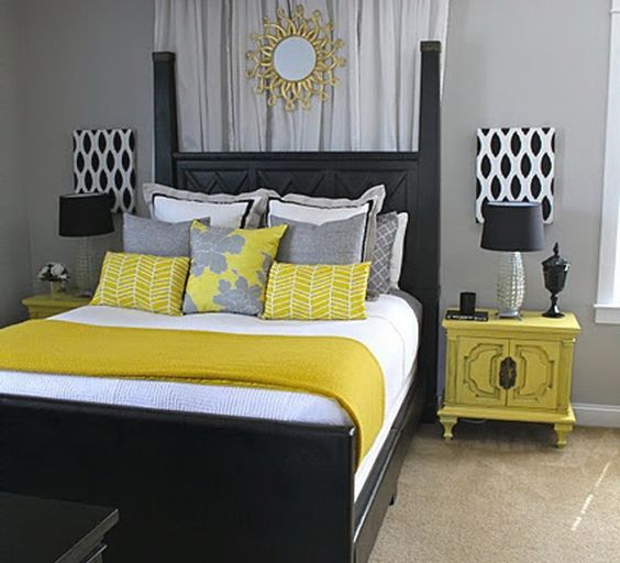 Extraordinary delightful smart teen bedroom idea gray grey for Grey and yellow bedroom