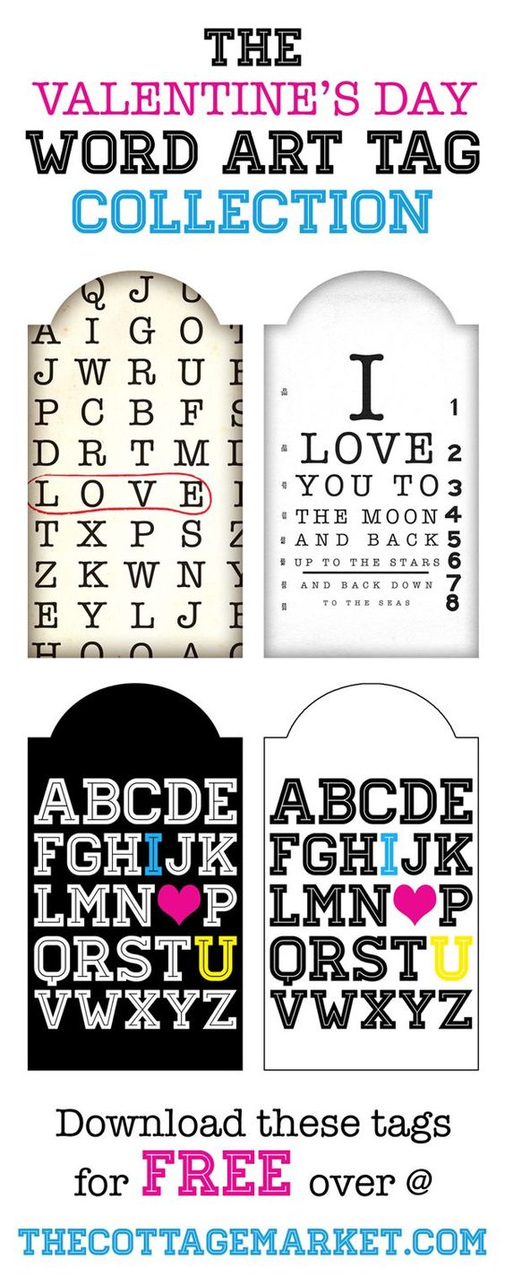 Cute word art gift tags for Valentine's Day - free printable!