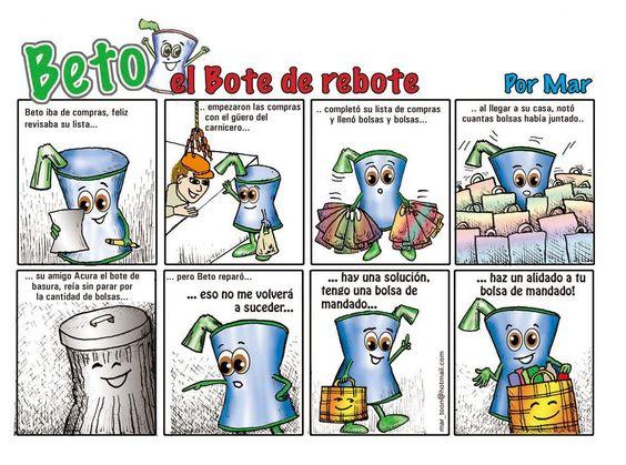 Mini comic para sensibilizar en el uso de bolsas reutilizables  http://www.aulalibre.es/IMG/pdf_DOC_1_BETO_el_bote_de_rebote_comic.pdf