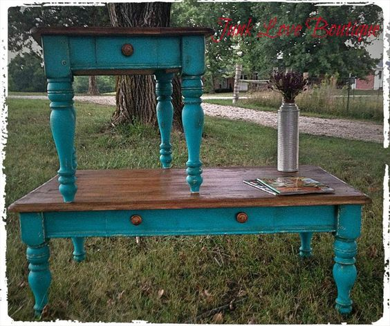 Distressed Blue Coffee Table: Teal/Turquoise End Table And Coffee Table -Junk Love
