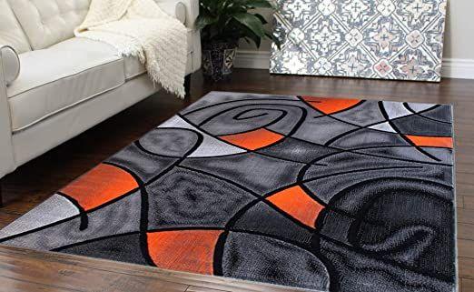 Masada Rugs Modern Contemporary Area Rug Orange Grey Black 8 Feet X 10 Feet In 2020 Contemporary Area Rugs Area Rugs Bright Rugs