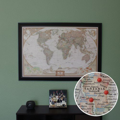 Personalized World Travel Map with Pins and Frame – Personalized World Traveler Map Framed