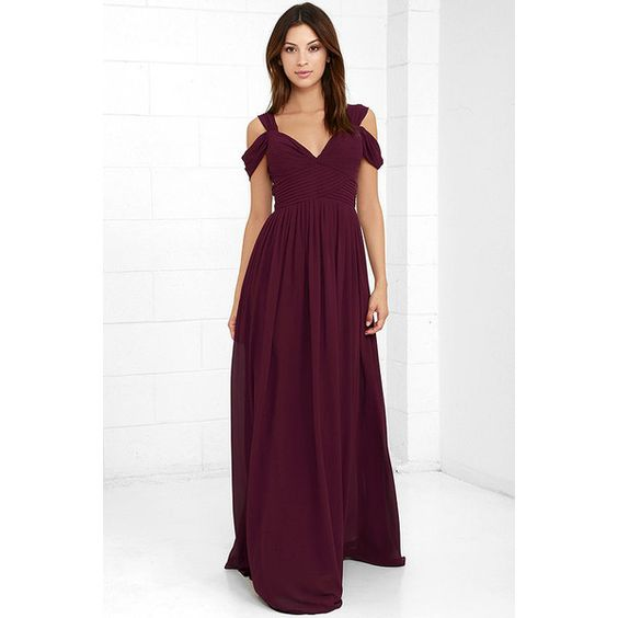 Make Me Move Burgundy Maxi Dress ($89) ❤ liked on Polyvore featuring dresses, gowns, red, long maxi skirts, burgundy maxi skirt, white maxi skirt, red gown and white pleated maxi skirt