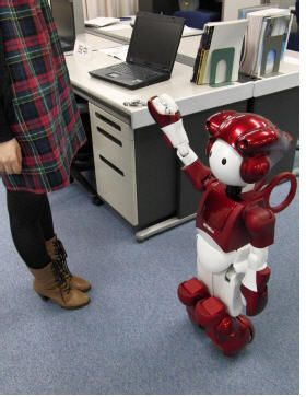 EMIEW2, Hitachi's office assistant robot, can quickly locate misplaced scissors or staplers