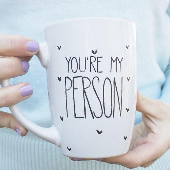 "Für Verliebte: Tasse mit Typo ""My Person"" / coffee mug for lovers and couples, valentines day by Diaper-Cake via DaWanda.com"