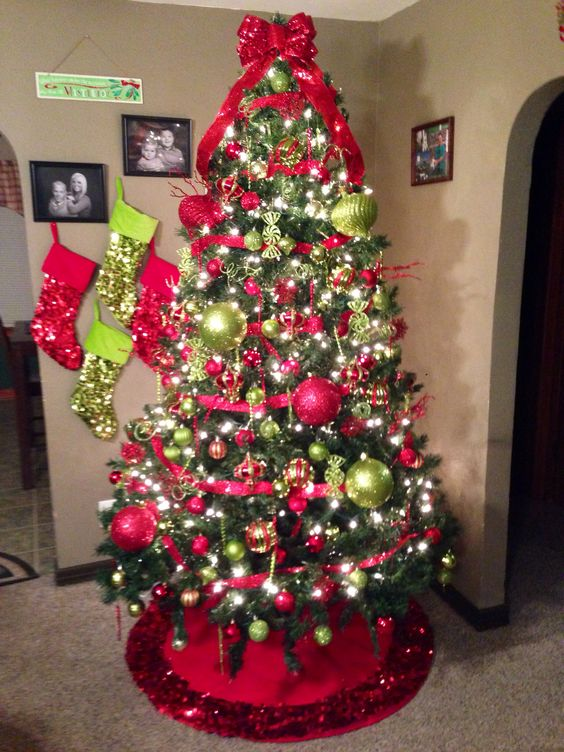 Lime Green And Red Christmas Tree
