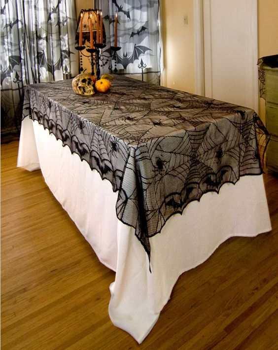 Find More Table Cloth Information about Elegant polyester black lace tablecloths spider web table cloth or bat lace table cover halloween tablecloth 122x244cm or 48x96,High Quality tablecloth polyester,China tablecloth christmas Suppliers, Cheap tablecloth from Hangzhou Jinhui Knitting Co.,LTD on Aliexpress.com