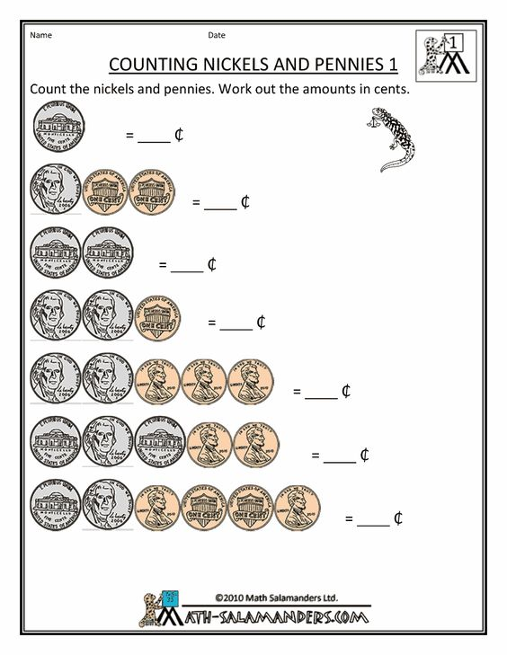 Free money counting printable worksheets Kindergarten 1st grade – Money Worksheet for Kindergarten