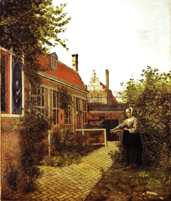 """Woman with Basket of Beans in the Kitchen Garden"" by Pieter de Hooch (1651)"