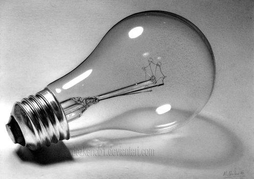 Pencil drawing of lightbulb, wow!