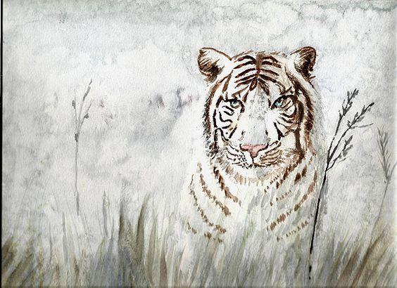 Tigre blanc sur fond de savane enneigée. Aquarelle sur papier 300g 24/30