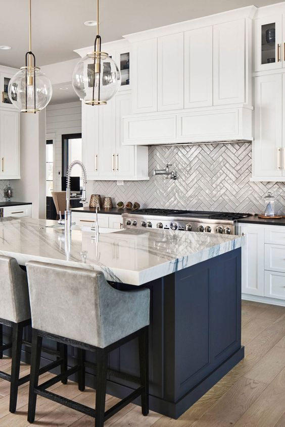 92417 Transitional Kitchen With Marble Countertop And Gray Ceramic Herringbone Backsplash Tiles