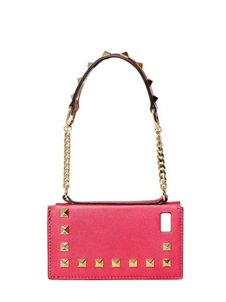 Valentino Around Studs Leather Iphone 5 Case in Purple (fuchsia)