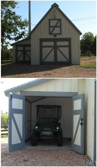Atv barns and pole barn plans on pinterest for Atv shed plans