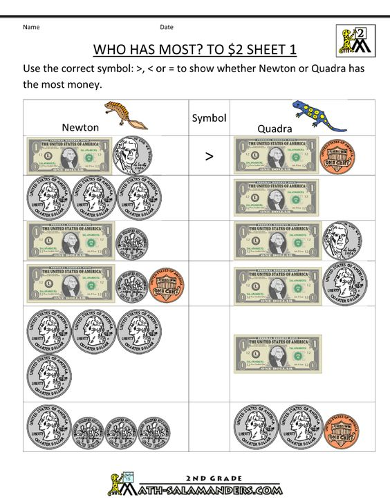 money math worksheets who has most to 2 dollars 1 | HS - math ...