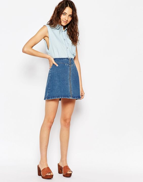 Denim Zip Skirt