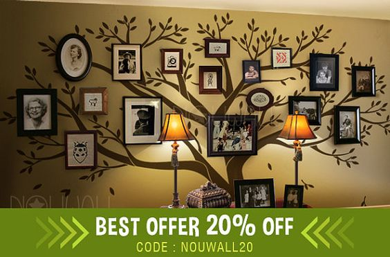 Photo Tree, memory tree, beautiful and elegant, makes the best feature wall on your home or office.  Size can be customized based on your wall size