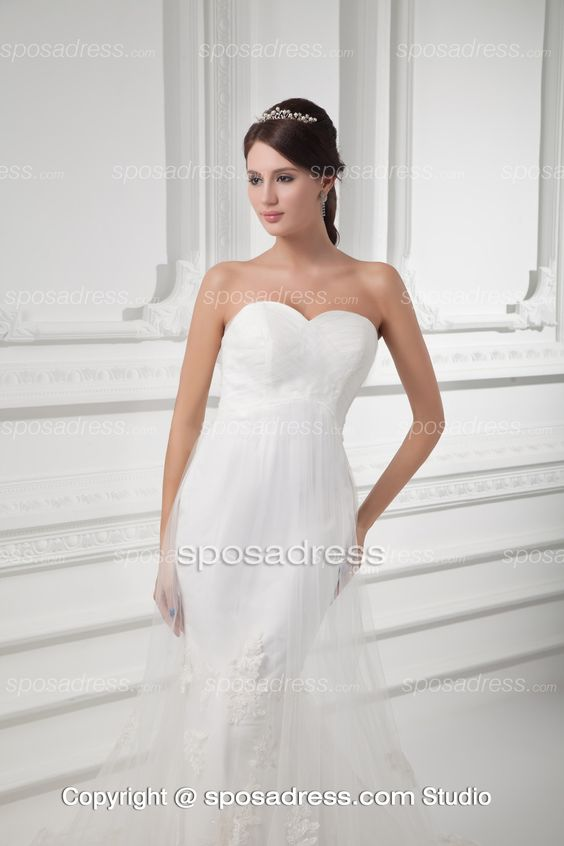 Mermaid Design Sweetheart Bridal Dress With Covered Tulle: