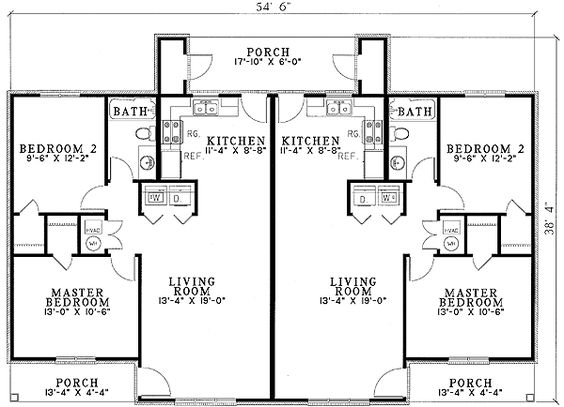 Duplex with Privacy - 59366ND | 1st Floor Master Suite, CAD Available, PDF | Architectural Designs