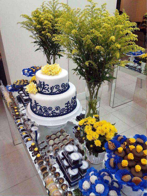 decoracao de casamento azul marinho amarelo e branco: De Aniversário De 50 Anos, 50 Festas De Aniversário e Convites De