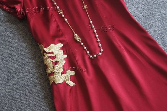 CH上海滩最新复古祥云刺绣旗袍-淘宝网