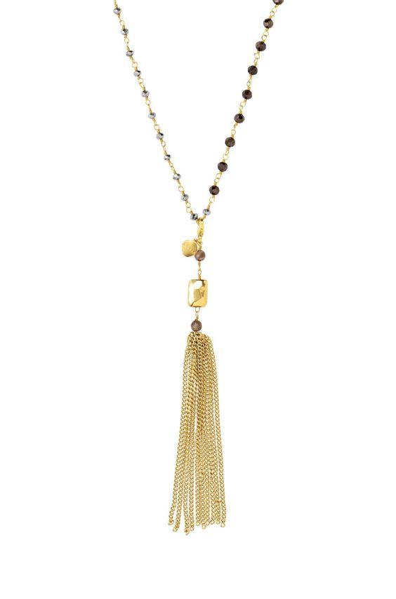 Metallic Beaded Tassel Rosary Necklace | Gold Gitane Tassel Necklace - can be worn multiple ways!