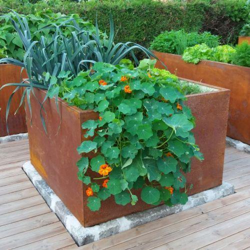 Hochbeet Mit Blumen Bepflanzt Terrassengestaltung Hochbeet Erhohte Beete Gartendesign Ideen