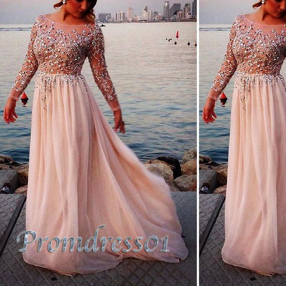 long prom dress , 2015 cute long sleeves round neck sparkly sequins floor-length chiffon prom dress, plus size dress for teens, ball gown #promdress